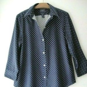 Chaps Plus Size Blue Polka Dot Top Blouse Shirt